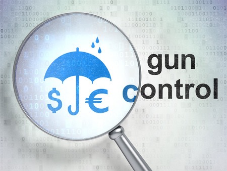 gun control: Protection concept: magnifying optical glass with Money And Umbrella icon and Gun Control word on digital background, 3D rendering