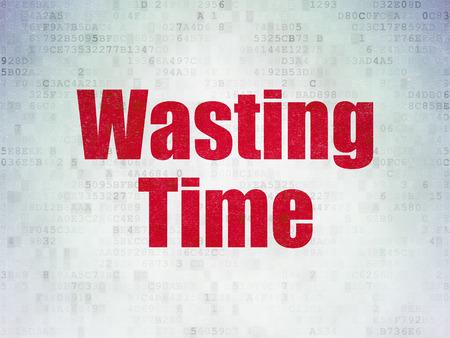 cronologia: Concepto de tiempo: Pintado palabra roja Perder el tiempo en el fondo de papel de Datos Digitales