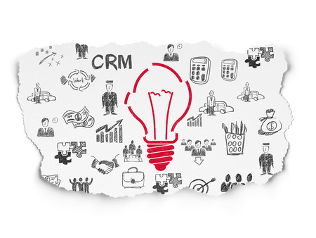 broken strategy: Business concept: Painted red Light Bulb icon on Torn Paper background with  Hand Drawn Business Icons