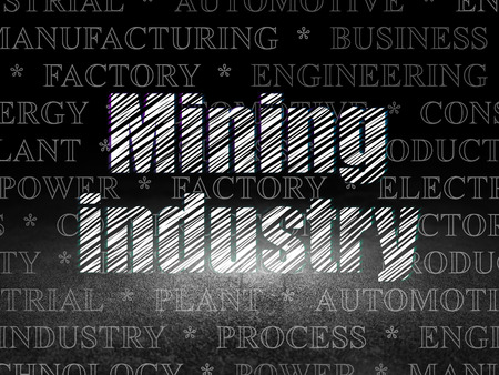 dirty room: Industry concept: Glowing text Mining Industry in grunge dark room with Dirty Floor, black background with  Tag Cloud Stock Photo