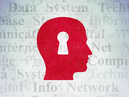 head tag: Data concept: Painted red Head With Keyhole icon on Digital Data Paper background with  Tag Cloud
