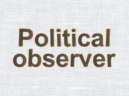 observer: Politics concept: CMYK Political Observer on linen fabric texture background Stock Photo