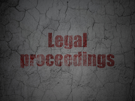 Law concept: Red Legal Proceedings on grunge textured concrete wall background