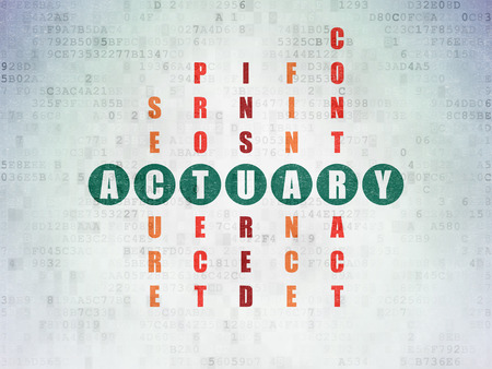actuary: Insurance concept: Painted green word Actuary in solving Crossword Puzzle on Digital Data Paper background