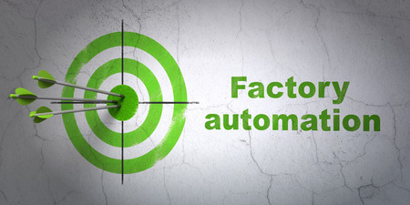 factory automation: Success Manufacuring concept: arrows hitting the center of target, Green Factory Automation on wall background, 3D rendering