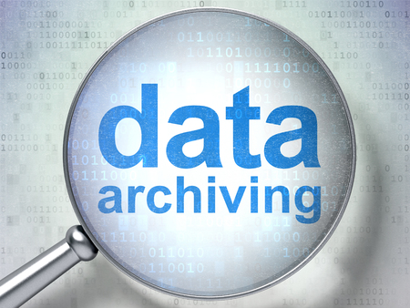 data archiving: Information concept: magnifying optical glass with words Data Archiving on digital background, 3D rendering