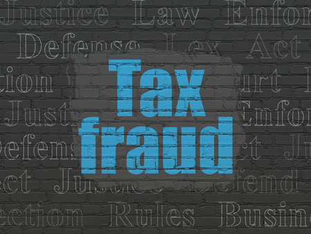 lex: Law concept: Painted blue text Tax Fraud on Black Brick wall background with  Tag Cloud