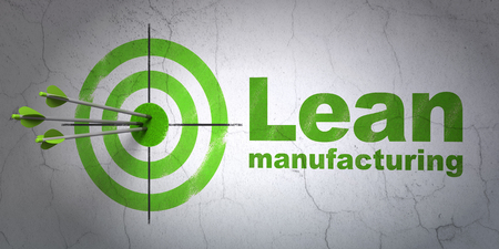 hitting a wall: Success Industry concept: arrows hitting the center of target, Green Lean Manufacturing on wall background, 3D rendering