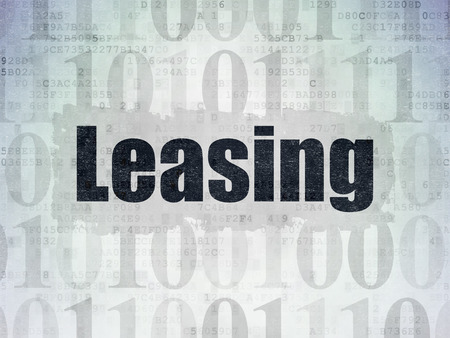 leasing: Business concept: Painted black text Leasing on Digital Data Paper background with   Binary Code