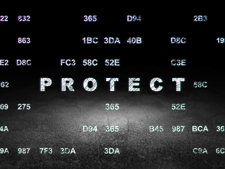hexadecimal: Protection concept: Glowing text Protect in grunge dark room with Dirty Floor, black background with Hexadecimal Code