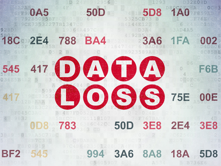 data loss: Information concept: Painted red text Data Loss on Digital Data Paper background with Hexadecimal Code
