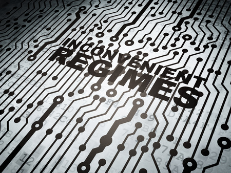 inconvenient: Political concept: circuit board with  word Inconvenient Regimes, 3D rendering