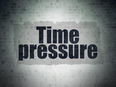 time pressure: Time concept: Painted black text Time Pressure on Digital Data Paper background with   Tag Cloud