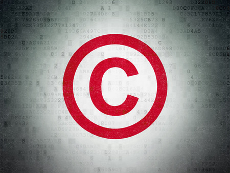 Law concept: Painted red Copyright icon on Digital Data Paper background Stock Photo