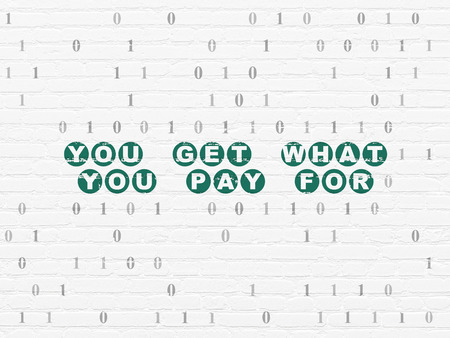 pay wall: Business concept: Painted green text You get what You pay for on White Brick wall background with Binary Code
