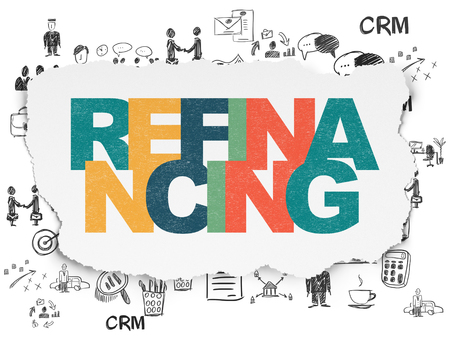 refinancing: Business concept: Painted multicolor text Refinancing on Torn Paper background with  Hand Drawn Business Icons
