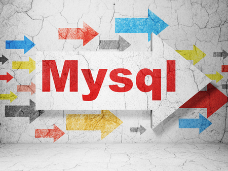 mysql: Programming concept:  arrow with MySQL on grunge textured concrete wall background, 3D rendering