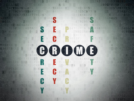 crime solving: Safety concept: Painted black word Crime in solving Crossword Puzzle on Digital Data Paper background Stock Photo