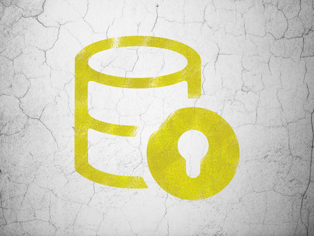 Software concept: Yellow Database With Lock on textured concrete wall background