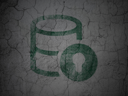 Software concept: Green Database With Lock on grunge textured concrete wall background