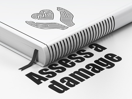assess: Insurance concept: closed book with Black Heart And Palm icon and text Assess A Damage on floor, white background, 3D rendering Stock Photo