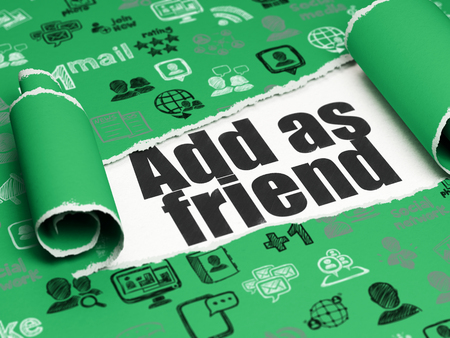 add as friend: Social media concept: black text Add as Friend under the curled piece of Green torn paper with  Hand Drawn Social Network Icons, 3D rendering