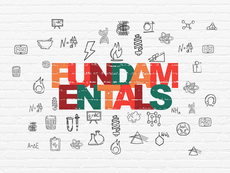 fundamentals: Science concept: Painted multicolor text Fundamentals on White Brick wall background with  Hand Drawn Science Icons
