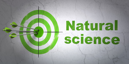 natural science: Success Science concept: arrows hitting the center of target, Green Natural Science on wall background, 3D rendering