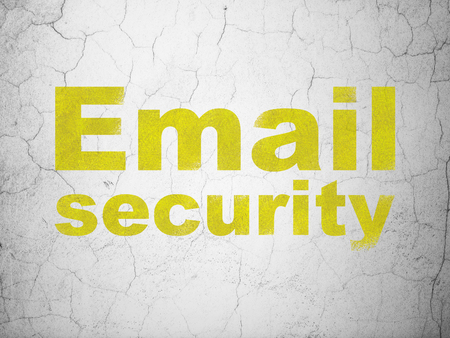 email security: Security concept: Yellow Email Security on textured concrete wall background Stock Photo