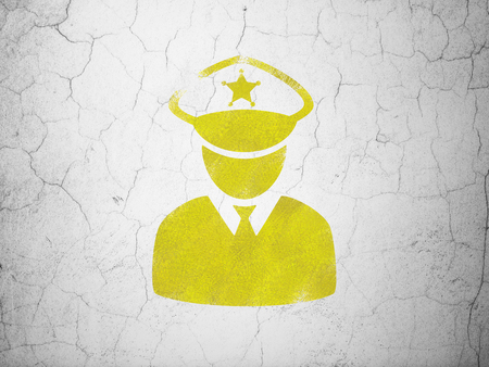 concrete court: Law concept: Yellow Police on textured concrete wall background