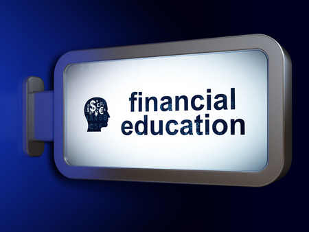 financial education: Education concept: Financial Education and Head With Finance Symbol on advertising billboard background, 3D rendering