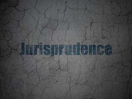 jurisprudencia: Concepto de la ley: Jurisprudencia azul en el grunge textura de fondo muro de hormigón