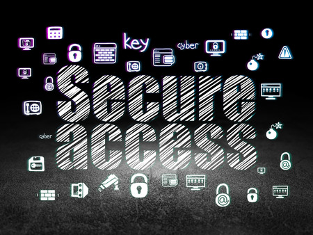 room access: Protection concept: Glowing text Secure Access,  Hand Drawn Security Icons in grunge dark room with Dirty Floor, black background