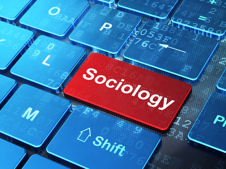 sociology: El estudio de concepto: Teclado de ordenador con la palabra en Sociología entra en el botón de fondo, 3D