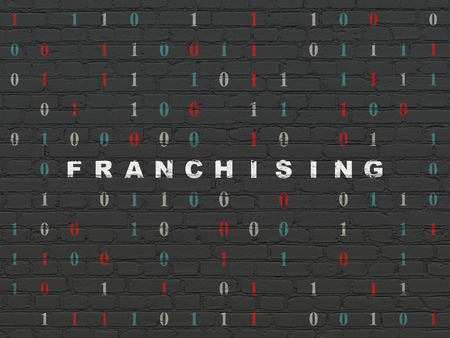 franchising: Finance concept: Painted white text Franchising on Black Brick wall background with Binary Code