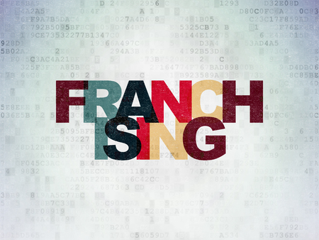 franchising: Finance concept: Painted multicolor text Franchising on Digital Data Paper background