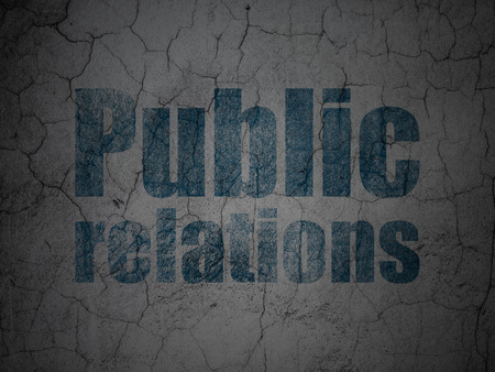 publicity: Marketing concept: Blue Public Relations on grunge textured concrete wall background