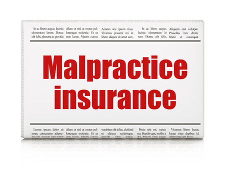 malpractice: Insurance concept: newspaper headline Malpractice Insurance on White background, 3D rendering
