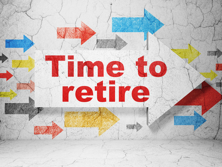 retire: Timeline concept:  arrow with Time To Retire on grunge textured concrete wall background, 3D rendering Stock Photo