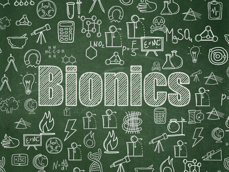 bionics: Science concept: Chalk White text Bionics on School board background with  Hand Drawn Science Icons, School Board Stock Photo