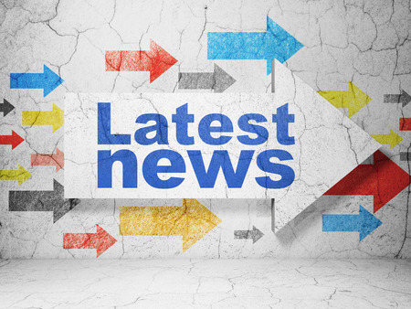 latest news: News concept:  arrow with Latest News on grunge textured concrete wall background, 3D rendering