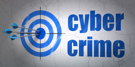success security: Success security concept: arrows hitting the center of target, Blue Cyber Crime on wall background, 3D rendering