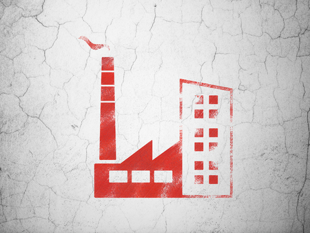 abandoned warehouse: Manufacuring concept: Red Industry Building on textured concrete wall background Stock Photo