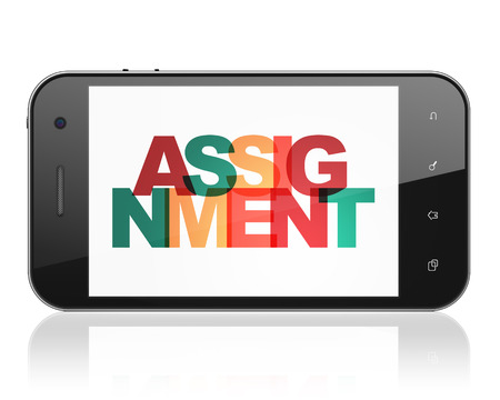 assignment: Law concept: Smartphone with Painted multicolor text Assignment on display, 3D rendering Stock Photo