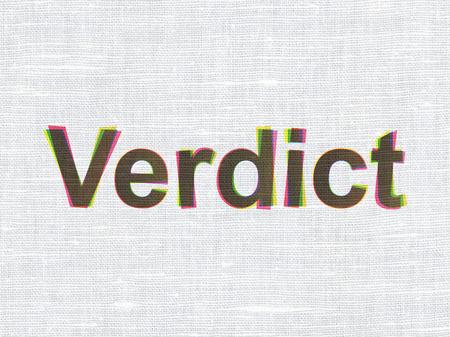 verdict: Law concept: CMYK Verdict on linen fabric texture background Stock Photo