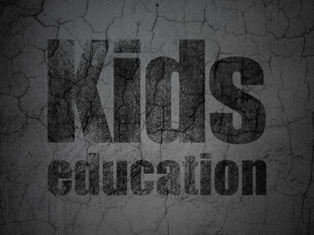 antique sleigh: Education concept: Black Kids Education on grunge textured concrete wall background