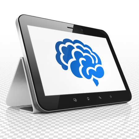blue brain: Medicine concept: Tablet Computer with blue Brain icon on display, 3D rendering Stock Photo