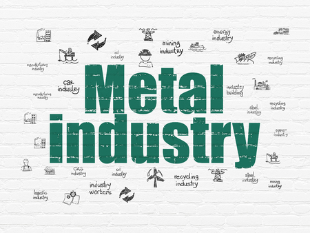 drawn metal: Industry concept: Painted green text Metal Industry on White Brick wall background with  Hand Drawn Industry Icons Stock Photo
