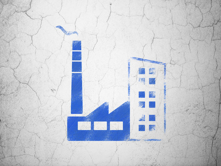 abandoned warehouse: Industry concept: Blue Industry Building on textured concrete wall background Stock Photo