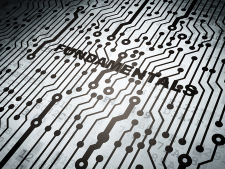 fundamentals: Science concept: circuit board with  word Fundamentals, 3D rendering Stock Photo
